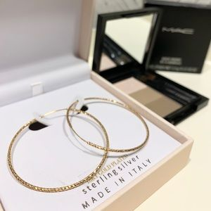 18k Gold Plated Sterling Silver Hoop Earring +gift